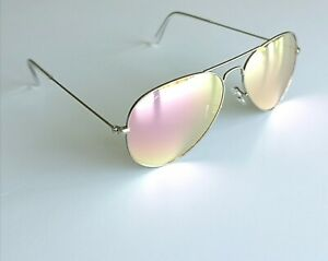 Ray-Ban Sunglasses genuine Classic Aviator RB3025 Silver frame pink Mirror new