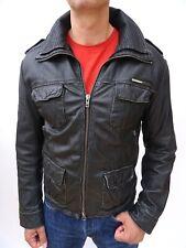 Superdry Men's ICONIC Superb! BRAD Black Leather Jacket - Size LARGE - No 4071
