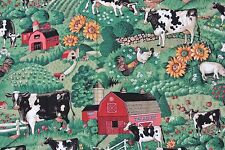 "Joan Kellser Farm Cow Barn Sunflower Remnant Fabric 36""x 26"" Quilt Sew"