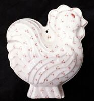 Mann Chicken Rooster Kitchen Mold wall decor Red Spotted White ceramic vintage