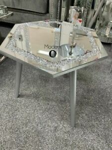 Crushed diamond mirrored hexagon side table silver wood leg slight defect