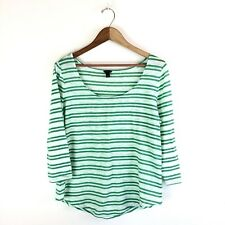 Ann Taylor Blouse Sheer Lightweight Spearmint Green and White Size Large
