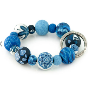 NEW JILZARAH Handmade Clay Beads NAUTICAL BLUE 20mm Wrist Keychain
