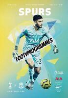Tottenham Hotspur v Liverpool Premier League Programme 2020 Free UK Delivery.