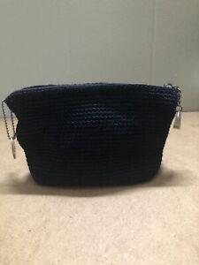 The Sak Black Crochet Makeup Case Pouch Bag Small Purse Zipper~Excellent