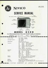 JVC Nivico Model 8200 AM FM Radio Super Rare Original Factory Service Manual