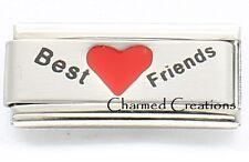 Best Friends Superlink For 9mm Italian Charm Bracelets Matte Heart Laser Link