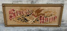 Antique Victorian Punch Punched Paper Sweet Home Foil Embroidered Bird Sampler