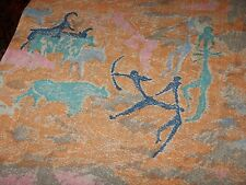 "2 + YDS Vintage Cotton Fabric Indian Aboriginal Buffalo Print 76"" x 44"" Novelty"