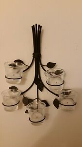 Vintage Five-Candle & Five-Cup Holder Wall Sconce Metal Flower-Branches Design