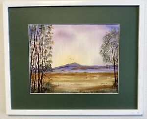Original Watercolor Painting Impressionism, Valley Mountain Hilltop Ransom Style