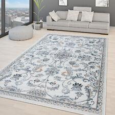 Wohnzimmer Teppich Orientalisches Design Kurzflor Moderne Ornamente Beige Blau
