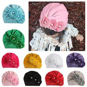 Newborn Headband Hat Baby Kids Girls Turban Flower Beaded Hairband Head Wrap Cap