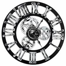 "Antique Vintage 16"" Round Wall Clock, Wooden Handmade 3D Gear Design"