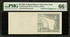 1995 $5 DOLLAR INSUFFICIENT INKING ERROR NOTE MISSING PRINT PAPER MONEY PMG 66
