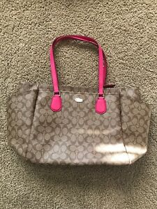 Coach Tote Large Brown Leather Hot Pink Lining Detachable Strap