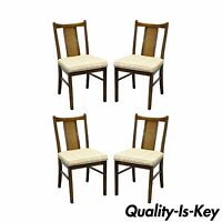 4 Vintage Mid Century Modern Cane Back Walnut Dining Chair Dunbar Wormley Danish