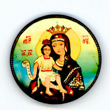 Russian Handpainted Brooches of Religous Saints_brooch_03, Mary with Child