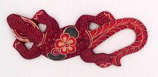 Gecko margouillat salamandre lézard en bois et batik art Java Indonésie N°19