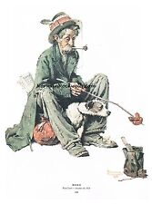 """Norman Rockwell Cooking Dinner print """"DINING OUT"""" / """"THE HOBO"""" homeless food"""