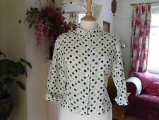 HOBBS LINEN BLOUSE SHIRT SIZE 12 WHITE WITH GREEN BLACK SPOTS WORN ONCE