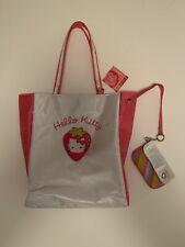 2004 Sanrio Hello Kitty White & Red Tote Hand Bag + Change Purse ~ Strawberry