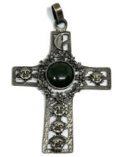 Large Sterling Silver Mexico Sun & Moon Cross Pendant