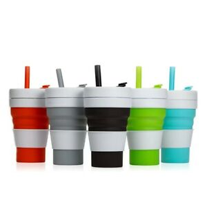 Collapsible Cup Silicone Folding Mug Portable Travel Cup with Straw 12oz