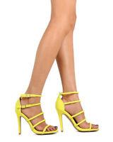 New Women Qupid Ara-152 Nubuck Open Toe Strappy Stiletto Sandal
