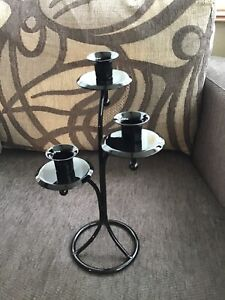 METAL 3 ARM CANDELABRA WITH A GLOSS BLACK FINISH #GB