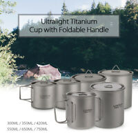 Lixada 300-750ML Ultralight Portable Cup Water Pot with Lid & Foldable Handle