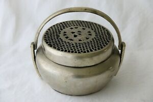 Antique Chinese White Brass Hand Warmer Qing Dynasty