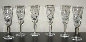 "Set Of 6 Lenox Crystal ""CHARLESTON"" 8"" Champagne Flutes"