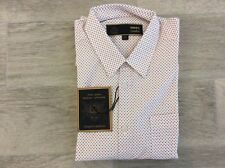 Para Hombre Merc London Slim Fit camisa de patrón de vestir de blanco talla M