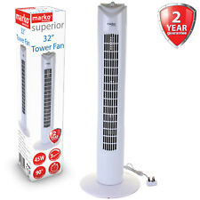 "32"" Tower Fan Oscillating Timer Cooling 3 Speed White Home Office Freestanding"