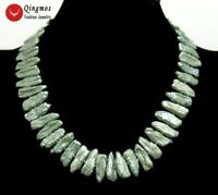 20-25mm Green Natural Freshwater Biwa Pearl Necklace for Women 17'' Chokers 6293