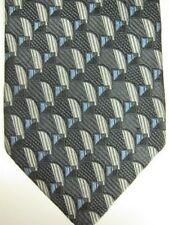 NEW $165 Ermenegildo Zegna Gray With Silver and Light Blue Silk Tie Italy