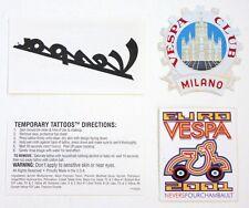 Set of 2 original VESPA scooter stickers & tattoo X 2 Euro Club Milano cog badge