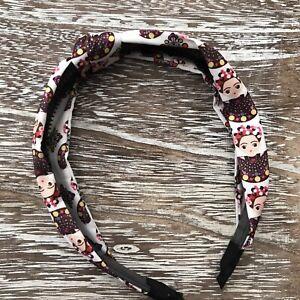 Frida Khalo Arch Headband, Hard Headband, Knot Fabric, White w/ Dress Print