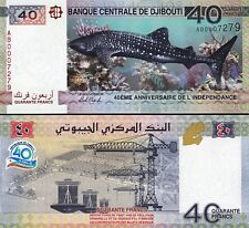 DJIBOUTI 40 FRANCS 2017 UNC SHARK 40'th ANNIVERSARY INDEPENDENCE COMM P NEW 0007