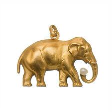 Pendentif Ancien Eléphant en Plaqué Or Jaune FIX avec Perle vers 1920