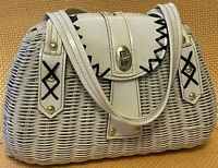 Vintage Mister Ernest Handbag Simon White Wicker Purse Black Details Hong Kong