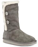 Koolaburra by UGG Women's Kinslei Tall Suede & Faux Fur Boots Stone Grey Size 9