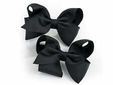 2 Large Black Hair Bow Hair Clips Girls Women Accessory