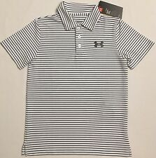 NWT youth Boys' YMD medium UNDER ARMOUR knit POLO heatgear GOLF shirt striped