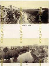 ALBUMEN PHOTOS CLIFTON SUSPENSION BRIDGE & GROSVENOR BATH ANTIQUE ALBUM PAGE1868