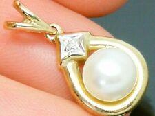 9ct Gold Art Deco Design Pearl & Diamond Hallmarked Pendant