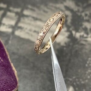 Victorian 9ct Gold Chased Engraved Wedding Ring Stunning Hallmarked d.1868 UK P