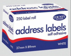 Packs 250 Self Adhesive White address Postage Labels Roll Sticky Labels FAST P&P