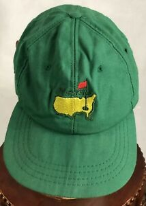 Vintage 80's Masters Golf Tournament- Adjustable Leather Strap- Derby Cap- green